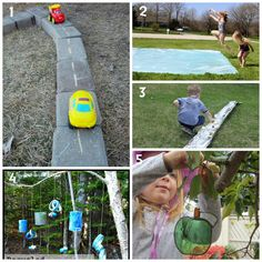 Learn with Play at home: 10 Creative Outside Activities for Kids - I need to build the road in my garden area. M would love that!