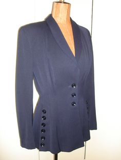 Vintage 40s Navy Blue Suit Jacket Button Detail Fitted Nipped Waist Courtshire Fashion 38 Bust Stella Ranae. $85.00, via Etsy.