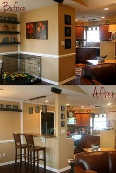 Knock out a wall, make a bar. I want to do this in the kitchen dining room area