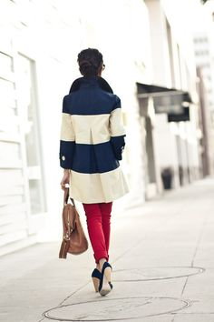 jacket, color schemes, fashion models, style, girl fashion, red white blue, kate spade, coats, stripe