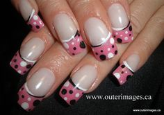 french manicure toes, polka dots, nail rainbow, white and pink french nails, colors