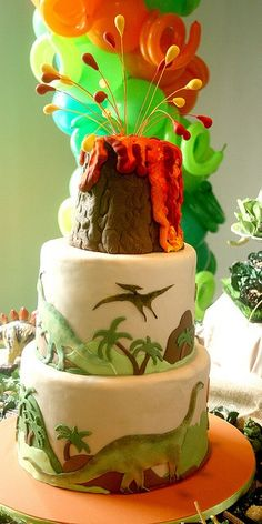 Coolest dinosaur cake (love the swirly balloons in back),does it funny?