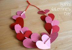valentine crafts, valentine day crafts, paper hearts, necklac, preschool crafts, cut outs, craft ideas, kid crafts, valentine party