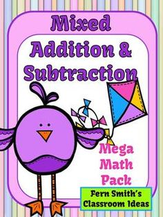 Addition and Subtraction Spring Mega Math Pack - Printables and Center Games #TPT $Paid #TeachersFollowTeachers #FernSmithsClassroomIdeas