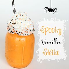 DRINK-Spooky Vanilla Shake Recipe! So fun and festive for Halloween.