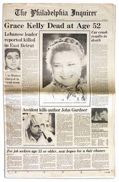 September 14, 1982: Princess Grace of Monaco (Grace Kelly) dies in a car crash