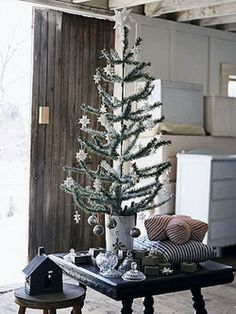 Table Christmas tree, green white Christmas tree with hanger balls stars