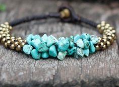 $8 Turquoise Stone Brass Bracelet