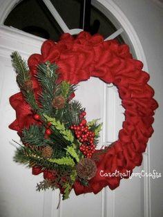 Red Burlap Holly Wreath...