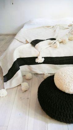 Large Moroccan POM POM Wool Blanket Ecru and stripe Black