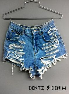 High Waisted Jean Shorts - Shredded