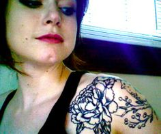 Peony Tattoo. #Gorgeous cap sleeve. #Love the placement.