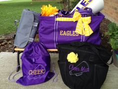 """Thirty-One Gifts - """"Cheer Mom"""" Solution Set. Large utitlity tote, with a pocket a tote and varsity scarf, the about town blanket, cinch sac and retro metro bag with rosette. #ThirtyOneGifts #ThirtyOne #Monogramming #Organization #GoTeam #CheerMom"""