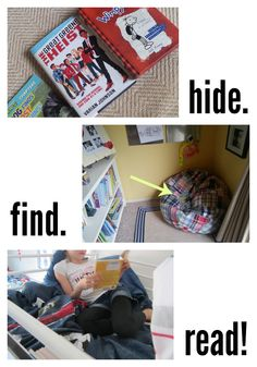 Hide, Find, and Read: Reading in New Places Make finding a spot to read the game and reading the prize!  --> i LOVE this simple activity!