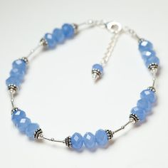 ANKLET Sterling Silver Periwinkle Blue Crystal by ambertortoise, $68.00