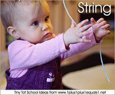 Tiny Tot School  ~ Exploring String {9-12 months} #totschool #babyplay