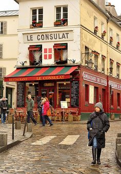 Paris : Butte Montmartre : Le Consulat restaurant -  I've come across this twice in my trips to the Butte.  It is in many movies, Jr. Scholastic foreign lang. mags, and travel brochures.  It is such an icon of French restaurants.