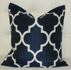 Maybe for the Master Bedroom at the PH?  Decorative Pillow Trellis  Quatrefoil  Navy Blue by ZzzBoutique