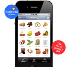 Create a grocery list without typing. NeedFood (The Visual Grocery List) iPhone App.