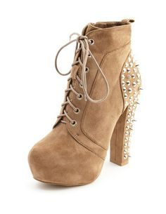 Sueded Stud-Back Thick-Heel Bootie: Charlotte Russe  bought em <3