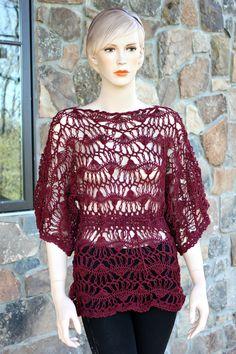 Burgundy Hairpin Lace Crochet Tunic by CasadeAngelaCrochet on Etsy, $105.00