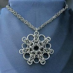 Chainmaille Snowflake Pendant by SteamPunkGarage
