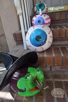 Eyeball painted pumpkins - DIY step by step.