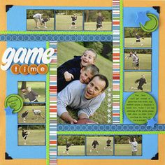 Love the layout! games, scrapbook layouts, photo layouts, game time, kids sports, paper goods, football pics, scrapbook pages, scrapbooking layouts