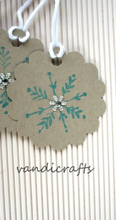 Scalloped  Blue  Handmade  Christmas gift tags by Vandicrafts