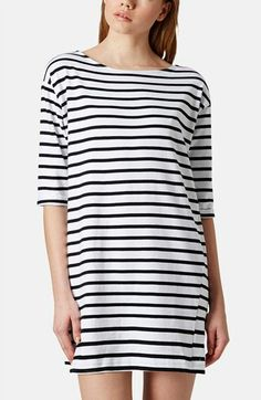 Topshop Stripe Cotton Tunic Dress (Petite) available at #Nordstrom