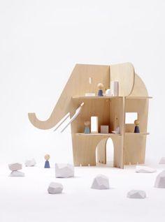 Ele Villa, a natural wooden dollhouse shaped like an elephant. Isn't it lovely?