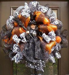 halloween decor, mesh decor, deco wreaths, halloween door, front doors, decor silver, halloween wreaths, black, deco mesh