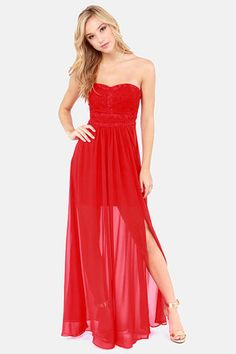 Aryn K Good Graces Strapless Red Maxi Dress at LuLus.com! #lulus #holidaywear