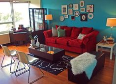 red sofa teal accent