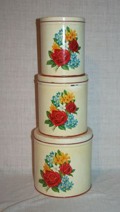 3 Vintage Red & Cream Metal Canister Set Flowers Red Yellow Blue White Lot
