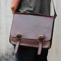Handmade Full-size Leather Briefcase -- 'Zap Straps'
