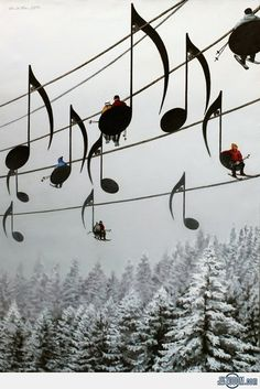 Musical Ski Lift Chairs, France