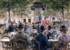 Cafe Scene in Paris, 1884, Louis Anet Sabatier.