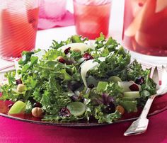 Stress-Free Dinner Party Recipes: Kale Salad With Fruit and Hazelnuts. Tip: Mix the dressing a day ahead, then assemble the salad literally in minutes. #SelfMagazine