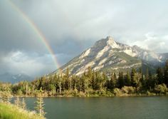 Grotto Mountain across Lac des Arcs west of Canmore, Alberta, Canada#ridecolorfully#katespadeny#vespa