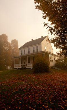 Old Farm House On Misty Morning