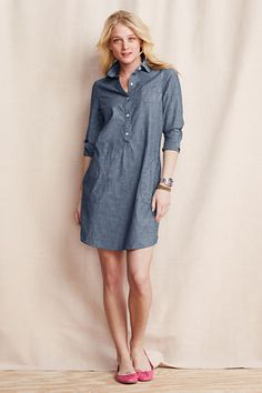 Women's 3/4-sleeve Chambray Slouchy Shirt Dress from Lands' End
