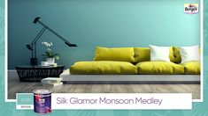 Thinking of bringing a playful contrast to your living space? Do it up in a shade of teal and add contrast with yellow furniture, giving it an easy vibe that lets you stay upbeat as you work from home. Share your monsoon home décor ideas with us using #SilkGlamorMonsoonMedley. #BergerPaints #PaintYourImagination