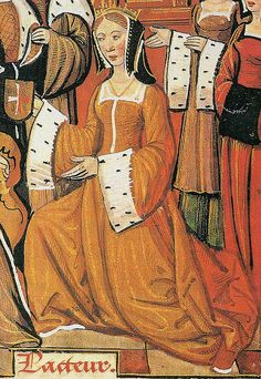 "Mary Tudor, daughter of Henry VII. Detail of Mary from a manuscript depicting Mary and her first husband, the aged Louis XII of France.    Mary (1496-1533) married Louis in October 1514; the marriage was brief as Louis died the following January.  Despite later marrying Charles Brandon, she was forever known as ""The French Queen""."