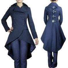 Gothic Punk Victorian Bustle Corset Style Trench Coat
