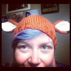 KNIT ALL THE THINGS!: Fox Ears Hat #fox #ears #hat #deer #woodland #animal #critter #knit #knitting #knitted #pattern #diy #tutorial #craft