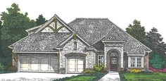 French+Country+House+Plan+with+2068+Square+Feet+and+3+Bedrooms+from+Dream+Home+Source+|+House+Plan+Code+DHSW076884  Three car garage