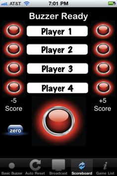 PickMeBuzzer ($0.00) - With 1 iPhone or 1 iPad ( stand alone built-in automatic reset) - Use 5 Player Buzzer mode to create a 5 player buzzer system. Connect TV out or VGA cable to device. This will project who buzzed in first onto a big screen (great for classroom, auditorium, and group training sessions). Score and names cannot be changed in this mode. An additional iOS device is required to change names and scoreboard.