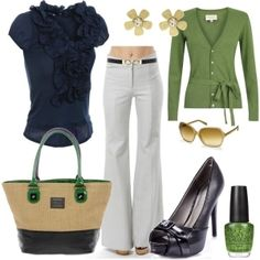 Navy and Green business casual outfit. Different shoes(my feet can't handle peep toe pumps) and earrings.