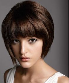 Straight smooth bob with bangs and chocolate brown hair